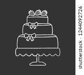 wedding cake chalk icon.... | Shutterstock .eps vector #1244092726
