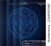 3d blue abstract tech... | Shutterstock . vector #1244093380