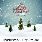 merry christmas winter magic... | Shutterstock .eps vector #1244095000