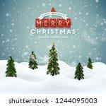 merry christmas winter magic... | Shutterstock .eps vector #1244095003