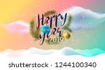 christmas. happy new year 2019. ... | Shutterstock .eps vector #1244100340