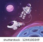 cosmonaut character in outer...   Shutterstock .eps vector #1244100349