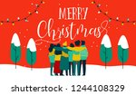 merry christmas greeting card... | Shutterstock .eps vector #1244108329