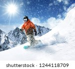 winter skier and sunny day in... | Shutterstock . vector #1244118709