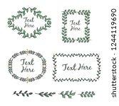 hand drawn frame leaves... | Shutterstock .eps vector #1244119690