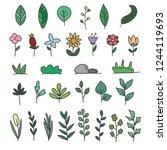 flower vector doodle. hand... | Shutterstock .eps vector #1244119693