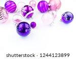 gentle pink and purple baubles...   Shutterstock . vector #1244123899