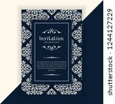 decorative wedding invitation... | Shutterstock .eps vector #1244127229