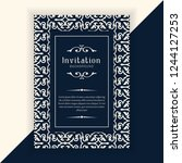 decorative wedding invitation... | Shutterstock .eps vector #1244127253