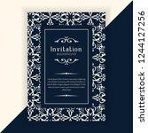 decorative wedding invitation... | Shutterstock .eps vector #1244127256
