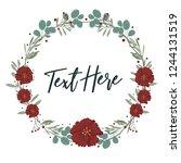flower frame with red flowers... | Shutterstock .eps vector #1244131519
