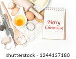 cookies ingredients eggs  flour ...   Shutterstock . vector #1244137180