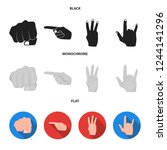 closed fist  index  and other... | Shutterstock . vector #1244141296