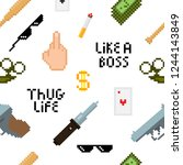 seamless thug life pattern with ... | Shutterstock .eps vector #1244143849