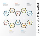 garment icons colored line set... | Shutterstock . vector #1244144209