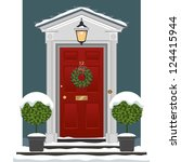 door. traditional georgian red... | Shutterstock . vector #124415944