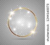 abstract magical glowing golden ... | Shutterstock .eps vector #1244160073