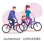 parents couple in bicycle with... | Shutterstock .eps vector #1244162083