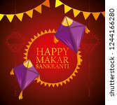 makar sankranti emblem with... | Shutterstock .eps vector #1244166280
