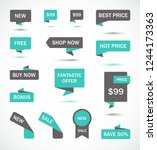 vector stickers  price tag ... | Shutterstock .eps vector #1244173363