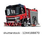 vector cartoon firetruck....   Shutterstock .eps vector #1244188870