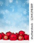many red christmas balls... | Shutterstock . vector #1244198389