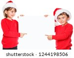 children kids christmas santa... | Shutterstock . vector #1244198506