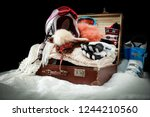 winter trip and packed suitcase ... | Shutterstock . vector #1244210560