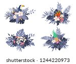 different bouquets with... | Shutterstock .eps vector #1244220973