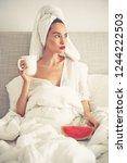 lifestyle portrait of beautiful ...   Shutterstock . vector #1244222503