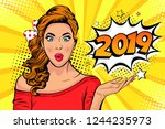 2019 new year comic book style... | Shutterstock . vector #1244235973