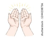 praying hands  hand drawn... | Shutterstock .eps vector #1244238736