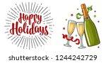 clinking glass  champagne... | Shutterstock .eps vector #1244242729