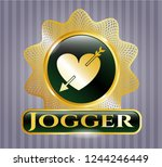 gold shiny badge with heart... | Shutterstock .eps vector #1244246449