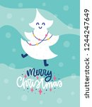 colorful christmas vector card. ... | Shutterstock .eps vector #1244247649