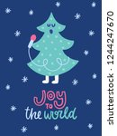 colorful christmas vector card. ... | Shutterstock .eps vector #1244247670