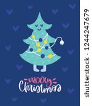 colorful christmas vector card. ... | Shutterstock .eps vector #1244247679