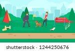 dog park with sport equipment.... | Shutterstock .eps vector #1244250676
