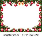 christmas tree frame with toys   Shutterstock .eps vector #1244252020