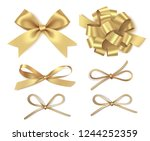 different golden bow isolated... | Shutterstock .eps vector #1244252359
