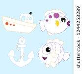 ocean line drawing vector... | Shutterstock .eps vector #1244253289