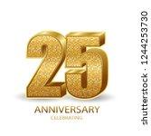 25 anniversary golden numbers... | Shutterstock .eps vector #1244253730
