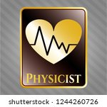 gold badge with heart with... | Shutterstock .eps vector #1244260726