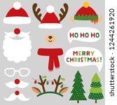 santa claus  deer and elf... | Shutterstock .eps vector #1244261920