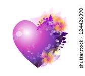 Purple Heart With Flowers