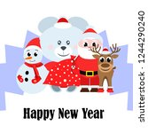 christmas card  santa snowman... | Shutterstock .eps vector #1244290240