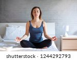 woman doing meditation and... | Shutterstock . vector #1244292793