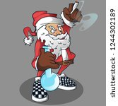 santaclaus mascot vector while... | Shutterstock .eps vector #1244302189
