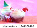 christmas cupcake abstract... | Shutterstock . vector #1244308486