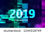 number 2019 distorted  glitch... | Shutterstock .eps vector #1244318749